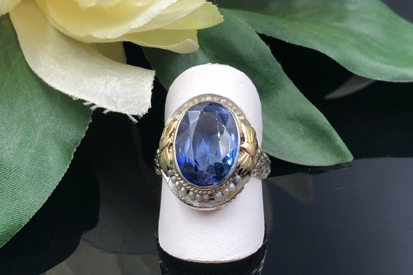 Antique Edwardian 14K Filigree Oval Sapphire Seed Pearl Ring