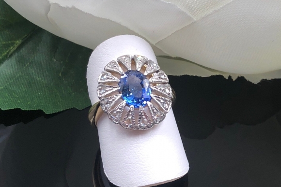 14K Sapphire Rose Cut Diamond Ring