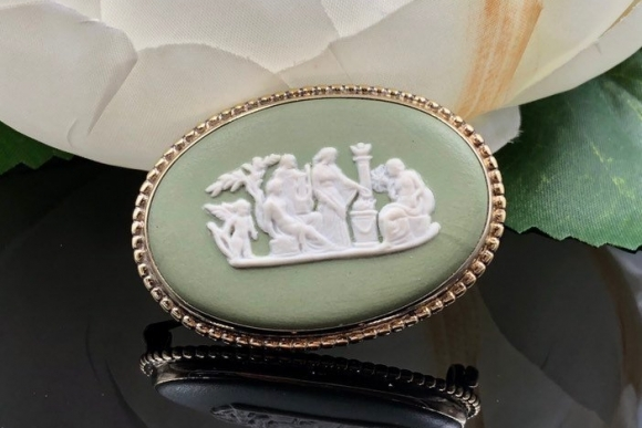 Wedgwood Green Jasperware Brooch