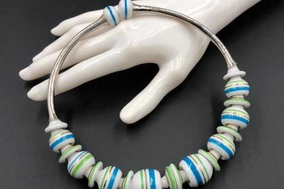 Blue Green White Porcelain Beads Statement Necklace