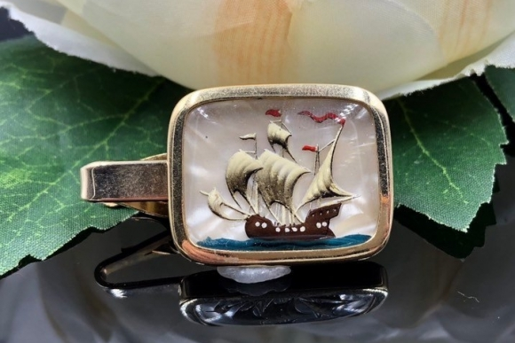 Nautical Reverse Painted Tall Mast Ship Mother of Pearl Sailing Ship Tie Clip