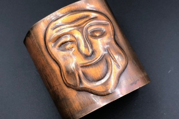 Wide Mid Century Modern Copper Repousse Kabuki Mask Tapered Cuff Bracelet