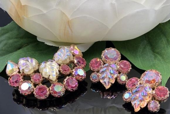 Weiss Pink Brooch Earrings Jewelry Set