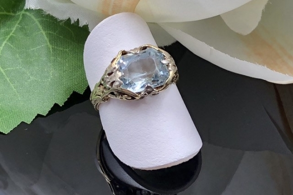 Victorian 14K Filigree Emerald Cushion Light Blue Aquamarine Ring