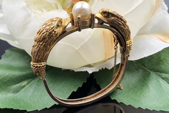 Castlecliff Bangle, Gold Eagle Pearl Bangle Bracelet, Animal Themes Bangle