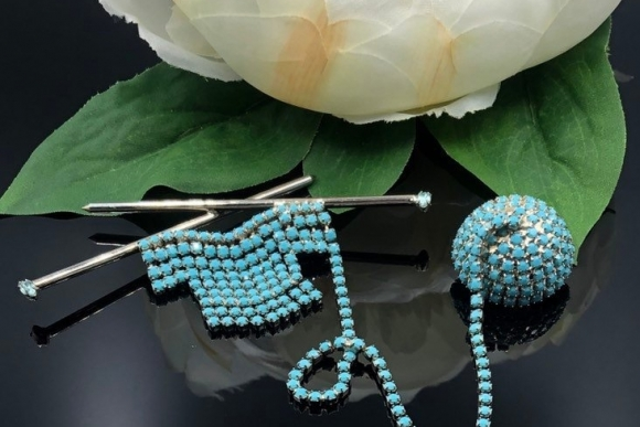 Dorothy Bauer Turquoise Blue Milk Glass Rhinestones Knitting Brooch