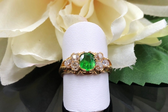 ON HOLD: RARE Antique Russian Demantoid Garnet Diamond Ring, Victorian 18K Ring, Oval Green Garnet, Old Mine Diamonds, Horse Tail Inclusions
