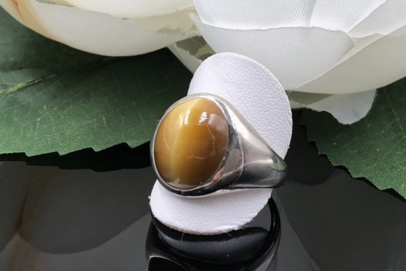Mans 14K Cats Eye Chrysoberyl Ring, 14K Cats Eye Ring, Mens Gemstone Ring, Gents 14K Ring, 15 Ct Chrysoberyl, Milk and Honey, Church and Co