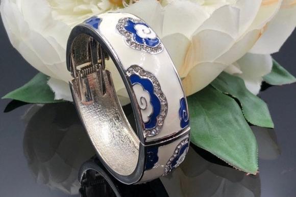 White Blue Enamel Crystal Bangle Bracelet