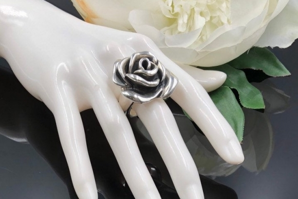 Sterling Silver Large Rose Statement Ring, Sculptural Ring, Electroform Jewelry Rose Ring, Silver Flower Ring