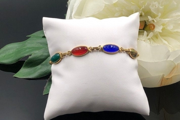 14K Scarab Bracelet, Natural Gem Scarabs, Egyptian Revival