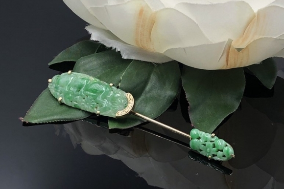 Antique 14K Carved Jade Jabot Brooch, 35th Anniversary Gift