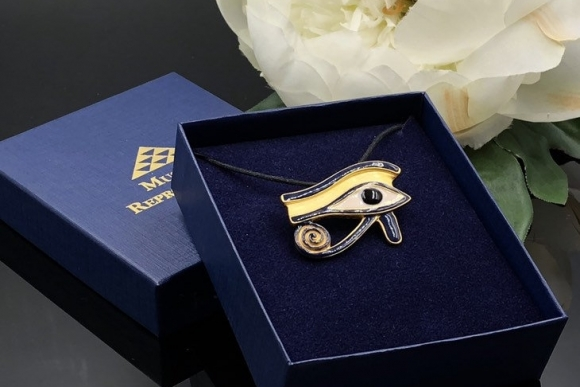 Museum Reproductions Egyptian Revival Eye of Horus Pendant Brooch with Original Box