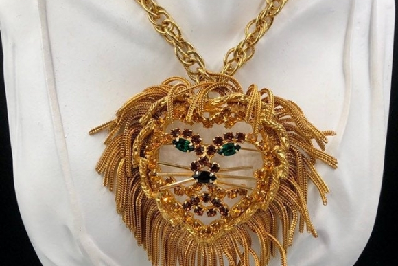 DOMINIQUE Lion Statement Necklace, Huge Gold Lion Brooch, Fringe Animal Brooch, Dominique Lion Pin