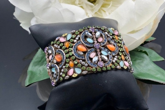 Sorrelli Wide Cuff Bracelet, Colorful Swarovski Crystals Statement Cuff