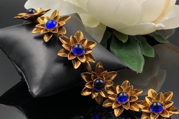 Art Deco Gold Flower Link Bracelet, Blue Lucite Cabs Statement Bracelet