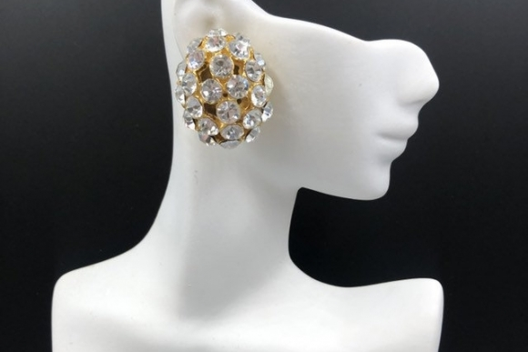 Crystal Rhinestone Oval Dome Statement Earrings