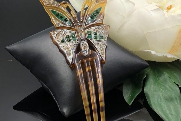 Art Deco Butterfly Hair Comb Rhinestone Mantilla