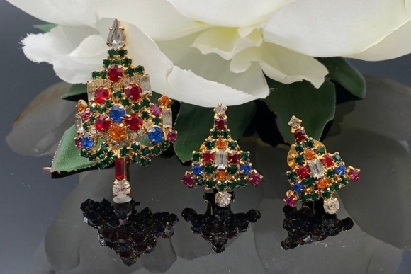 Joseph Warner Candlestick Christmas Tree Pin and Earrings Jewelry Set