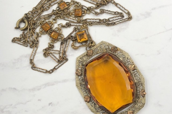 Art Deco Citrine Glass Long Pendant Necklace