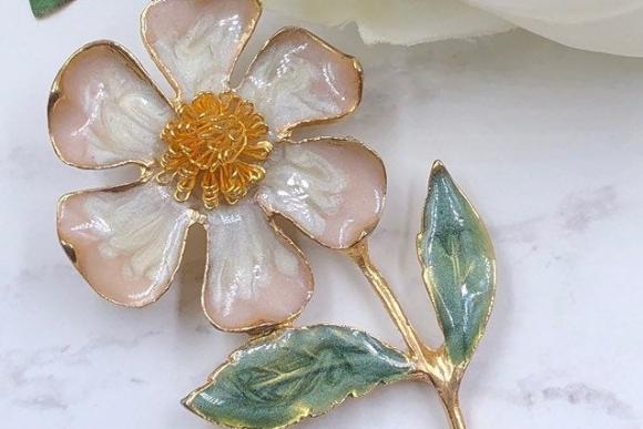 Pastel Pink Enamel Flower Brooch