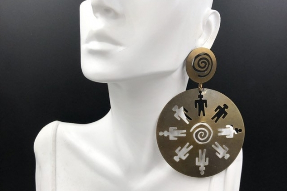 HUGE Brass Cut Out Statement Earrings, Chic Brand Earrings Original Card