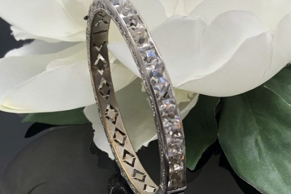 Art Deco Clear Paste Bangle Bracelet
