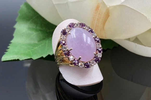 18K Lavender Jade Amethyst Diamond Ring, Natural Jade Ring, 35th Anniversary Gift