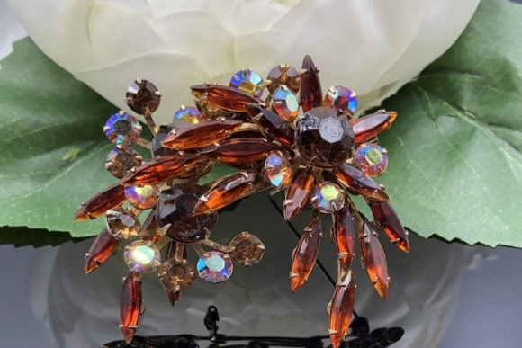 Brown Rhinestone Spray Brooch, Beau Jewels Style