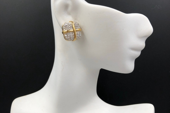 Swarovski Crystal Pierced Earrings, Square Earrings Signed SAL