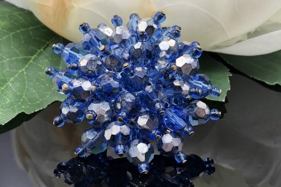 Vintage Blue Silver Sputnik Cluster Bead Brooch