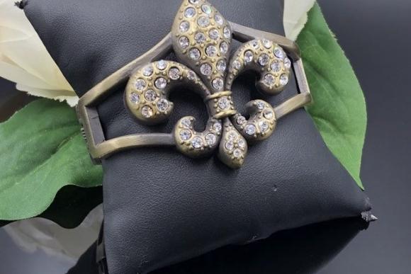 Fleur De Lis Bangle, Statement Bracelet, Crystal Bangle, Burnished Gold Clamper Bangle