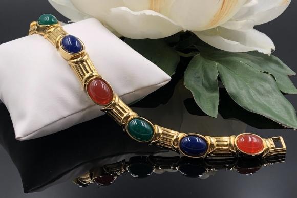 Joan Rivers Renaissance Artistry Faux Jade Lapis Carnelian Hard Plastic Cabochons Gold Link Bracelet