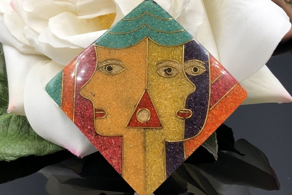 Vintage Picasso Face Brooch Made in Philippines Ground Stone Inlay
