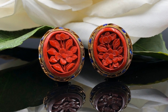 Carved Red Cinnabar Clip On Earrings, Early Chinese Export Cinnabar Cloisonne Enamel Gilt Wash, Antique Earrings
