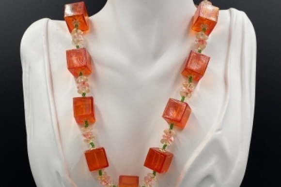 Vintage Mid Century Tangerine Orange Lucite Cube Plastic Bead Necklace Made in Japan