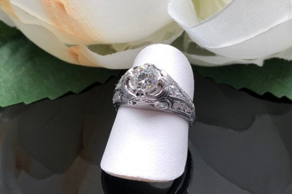 Art Deco Revival 18K White Gold Diamond Engagement Ring