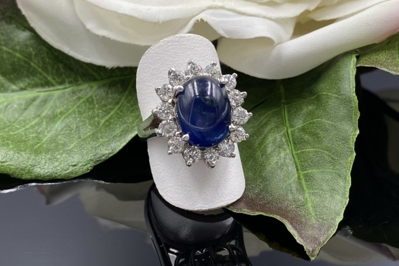 Fine Estate 14K Natural Sapphire Cabochon Diamond Ring