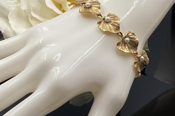 Vintage 14K Gold Pearl Bracelet