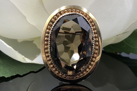 12K Gold Filled Oval Smoky Quartz Brooch