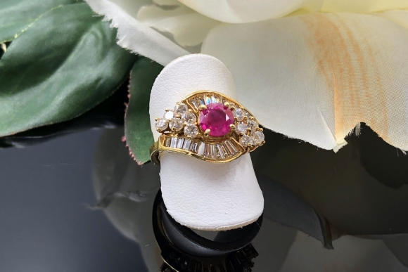 18K Natural Ruby Diamond Cocktail Ring, Vintage JB Star Ring, July Birthstone, 40th Anniversary