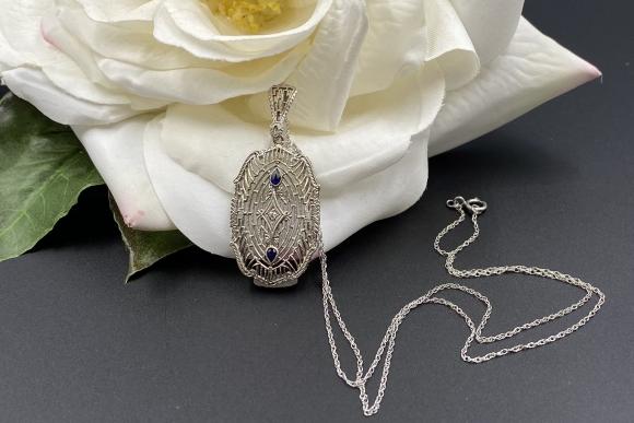 Art Deco 14K White Gold Diamond Sapphire Lavaliere Necklace