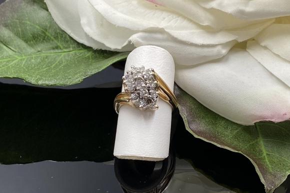 Vintage 14K Diamond Waterfall Pinky Ring