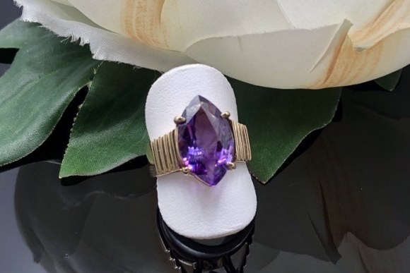 14K Marquise Cut Amethyst Ring, 6th Anniversary Gift