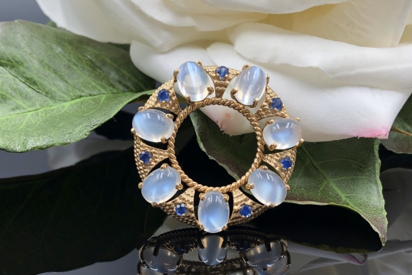 Moonstone Sapphire 14K Circle Brooch, 13th Anniversary Gift