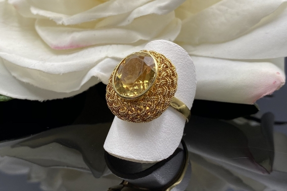Vintage Italian 18K Citrine Ring November Birthstone