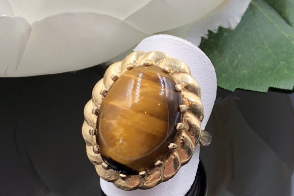 Vintage 14K Gold Tigers Eye Statement Ring