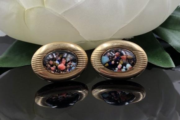 Vintage Anson Cuff Links, Glass Confetti Bubble Cufflinks