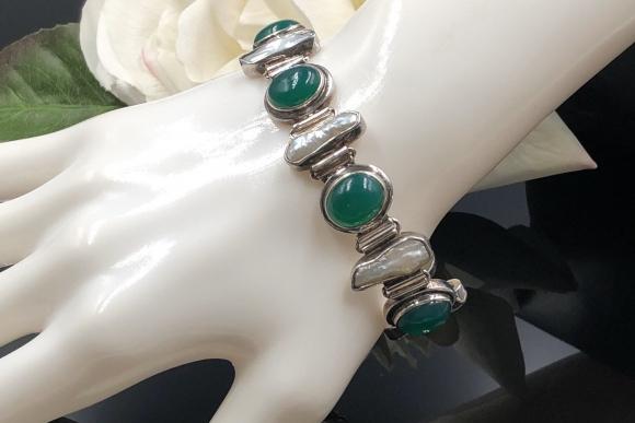 Sterling Silver Green Chrysoprase Biwa Pearl Bracelet