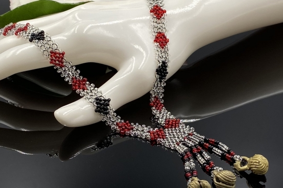 Vintage Red Black Clear Hand Beaded Tassel Necklace with Brass Bells, Art Deco Revival